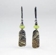 Fine Silver Aventurine Dangle earrings by CandyceWestfield on Etsy