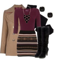 """Sweater Skirt"" by qtpiekelso on Polyvore this is such a good work outfit! love this skirt and it's from Maurices!"