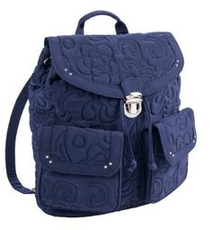 Vera Bradley Vera Vera Collection - Backpack Navy Blue.             The Backpack has never looked so professional. A drawstring closure is covered by a logo pushlock flap, while two front magnetic flap pockets neatly hold keys or a phone. The rear zip pocket is great for small items, while one interior zip and two slip pockets grant more s...