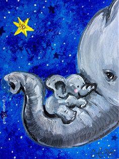 """Baby Boy"" | Copyright © by Caroline Ruivo. Year: October 2017. Media: Acrylic Paint. Size: 8"" x 10"" on Stretched Canvas #CarolineRuivo #Acrylic #Painting #FineArt #Elephant #Nursery"
