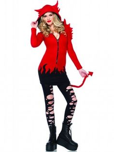 "Women's ""Cozy Devil"" Costume by Leg Avenue (Red) - 1"