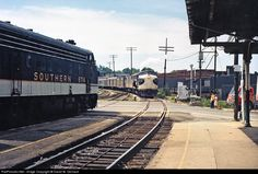 May 1966 - No. 45 on left (in Virginia), and No. 42 approaching (in Tennessee)--Bristol, VA-TN. Bristol Tn, Railroad History, Southern Railways, Norfolk Southern, Railroad Photography, Diesel Locomotive, Steam Engine, Railroad Tracks, Photo Credit