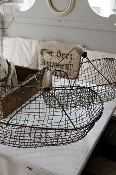 wire baskets . I like the simplicity of them.