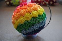 Bombka z kwiatów z bibuły wisząca 15 cm