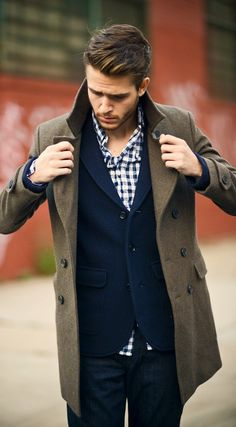Navy and white buffalo check, navy wool blazer, olive wool overcoat.