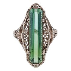Antique Green Tourmaline Ring circa 1900 | From a unique collection of vintage more rings at http://www.1stdibs.com/jewelry/rings/more-rings/