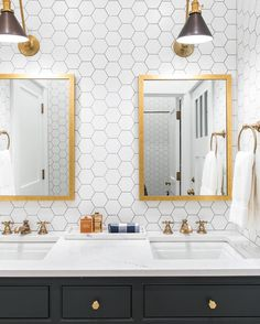 Black, white and brass bathroom | See this Instagram photo by @caitlinwilsondesign