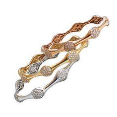 Tri-color gold and diamond bangles