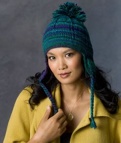 Comfy Earflap Hat Crochet Pattern | Red Heart uses 2 skeins of RH unforgettable