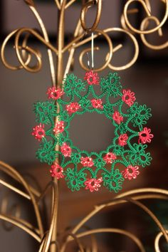 Tatted   WREATH 2013  Christmas Ornament, Tatting, Ready-made or Custom Order from MY very own pattern