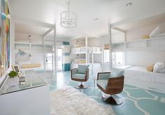 Six Bunk Bed in Bunk Room. Bunk Room Layout. Large Bunk room with six bunk beds, stenciled floors and desk area. #BunkRoom Tracy Hardenburg Designs.