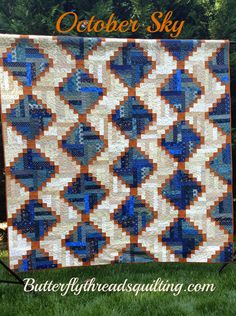Butterfly Threads: Just Because... October Sky pattern.  Half log cabins with cornerstones