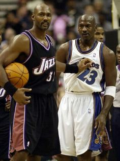 Karl Malone (Utah Jazz) and Michael Jordan- oldies but goodies Basketball Jones, Love And Basketball, Basketball Legends, Sports Basketball, Basketball Players, Basketball Shirts, American Athletes, American Sports, Basketball Pictures