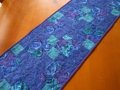 Patchwork Table Runner Blue on Handmade Artists' Shop