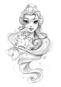 Disney Princess on Behance - Mara E. : Disney Princess on Behance - Disney Drawings Sketches, Cute Disney Drawings, Cute Drawings, Drawing Sketches, Drawing Disney, Belle Drawing, Drawings Of Belle, Disney Character Sketches, Tattoo Sketches