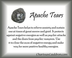 Crystal Tips - Apache Tears Crystal Magic, Crystal Healing Stones, Crystal Grid, Crystals Minerals, Crystals And Gemstones, Stones And Crystals, Chakra Crystals, Gem Stones, Healing Gemstones