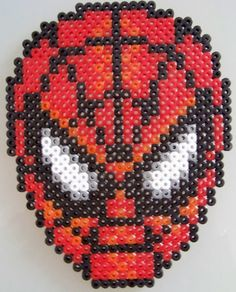 Check out this Spiderman Hama Bead Pattern which looks awesome!    http://hamabeadpatterns.co.uk/2013/03/02/spiderman-face/