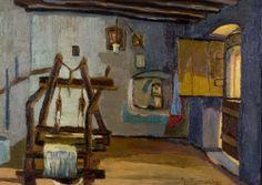 Χατζημιχάλη Αγγελική – Aggeliki Hantzimichali [1895-1965] ΔΩΜΑΤΙΟ ΜΕ ΑΡΓΑΛΙΟ, Room with a loom