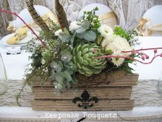 Succulent table crates Flax Flowers, Flowers In Hair, Wedding Flowers, Seed Pods, Table Flowers, Grapevine Wreath, Cake Toppers, Crates, Greenery