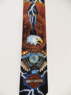 Vintage Necktie, Ralph Marlin Necktie, Harley Davidson Eagle Motor Cycles, Licensed 1995, Novelty Necktie, Casual Friday, Gift for Him by TomCatBazaar on Etsy