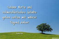 Schöne Worte und schmeichlerisches Gehabe gehen selten mit wahrer Tugend einher. ... gefunden auf https://www.geheimekraft.de/spruch/504