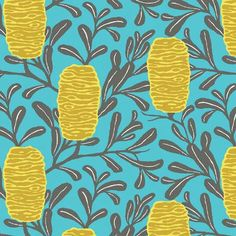 Honeycomb Fabric | Hives | Floral | Banksia | Australian Print | Blue | Gold | Yellow | Leaves | Branches | Nature | Botanical
