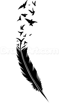 How to Draw a Black Feather Black Feather Tattoo Step by Step Tattoos Pop Culture FREE Online Drawing Tutorial Added by Dawn June 27 Feather Tattoos, Nature Tattoos, Hahn Tattoo, Gravure Laser, Feather Drawing, Geniale Tattoos, Online Drawing, Tattoo Stencils, Elephant Tattoos