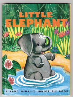 Little Elephant Rand McNally Junior Elf Book Illustrated by Lucy Ozone Vintage 1959