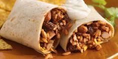 Receta Burritos de Mole con arroz, pollo y frijoles