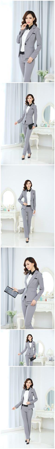2015 весна формальные женщины брюки костюмы блейзер устанавливает элегантный женский брючный костюм леди деловые костюмы офис носить форму Большой размер купить на AliExpress