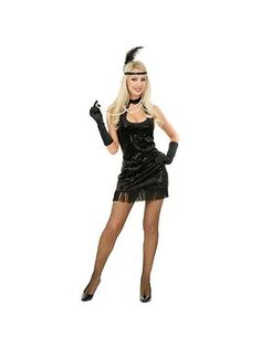 Womens Plus Size Black Flapper Costume...