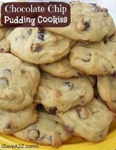 Chocolate Chip Pudding Cookies http://www.isavea2z.com/chocolate-chip-pudding-cookies/?utm_campaign=coschedule&utm_source=pinterest&utm_medium=Jennifer%20-%20iSaveA2Z%20Blog%20(~%20Just%20Desserts%20~)&utm_content=Chocolate%20Chip%20Pudding%20Cookies #easyrecipes #bestrecipes