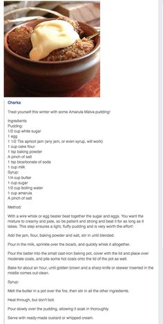 Amarula Malva Pudding No Cook Desserts, Homemade Desserts, Just Desserts, Dessert Recipes, Pudding Desserts, Pudding Recipes, Great Recipes, African Bread Recipe, Kos