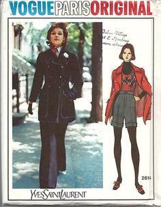 Vintage 1970s Vogue Paris Original Sewing Pattern 2614 Jacket Pants Shorts NR