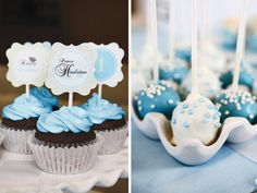 Cute Prince party and genius idea to use a ceramic egg container as a cake pop holder!