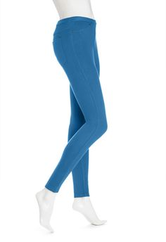 Hue The Original Jeans Solid Color Leggings in Planet Blue