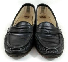 3d097be80c68 SAS Tripad Comfort Shoes Black Leather Loafers Womens 8.5 S Slim  SAS   LoafersMoccasins Black