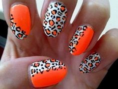 I love these neon orange and cheetah nails!!