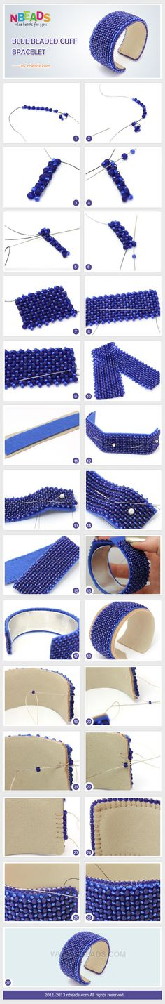 DIy Howto Summary: Todays creative craft is a beaded cuff. Are you ready to spend your time on DIY cuff bracelet? I bet you will be willing to go with us. For the blue beaded cuff is so charming that you cant move your eyes away from it. Beading Techniques, Beading Tutorials, Beading Patterns, Seed Bead Jewelry, Beaded Jewelry, Handmade Jewelry, Silver Jewelry, Jewellery, Bracelet Patterns