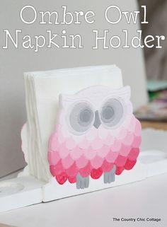 ombre owl napkin holder