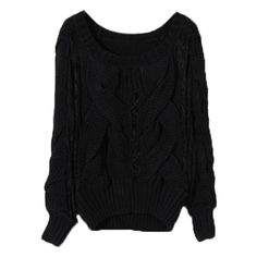 Shop Cable Knit Panel Lace Black Jumper online at ROMWE,the latest women fashion collection.