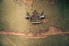 green antique drawer and handle