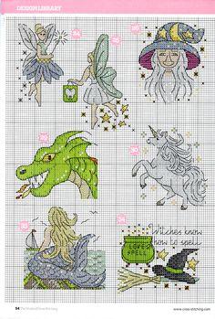 cross stitch - fantasy motifs (5/6) - fairy, wizard, dragon, unicorn, mermaid