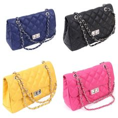 Our quilted bag series. A pop in a classy way, made from genuine leather material with chains and clap closure. Check stores.ebay.com/shopatever for more details.