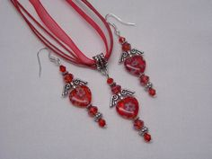 Red Millefiori Hearts & Wings Jewelry Set w/ by paulandninascrafts, $12.00