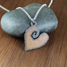 Rustic Romanitc   Iron Heart Pendant Necklace by KLFStudio on Etsy