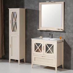 Mueble de baño rústico ÁVILA con patas 80 cm hueso con LAVABO 9532 Vanity, Bathroom Vanity, Bathroom