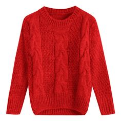 Cable Knit Crew Neck Jumper Sweater Red ($19) ❤ liked on Polyvore featuring tops, sweaters, zaful, red sweater, cable-knit sweater, cable sweater, red cable knit sweater and chunky cable sweater