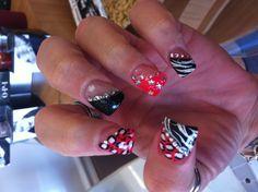 My nails for Vegas :) #nails #black #pink #zebra