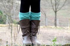 Knitted Boot Cuff  Woman   Mint aqua Short Cable by EmofoFashion, $26.00